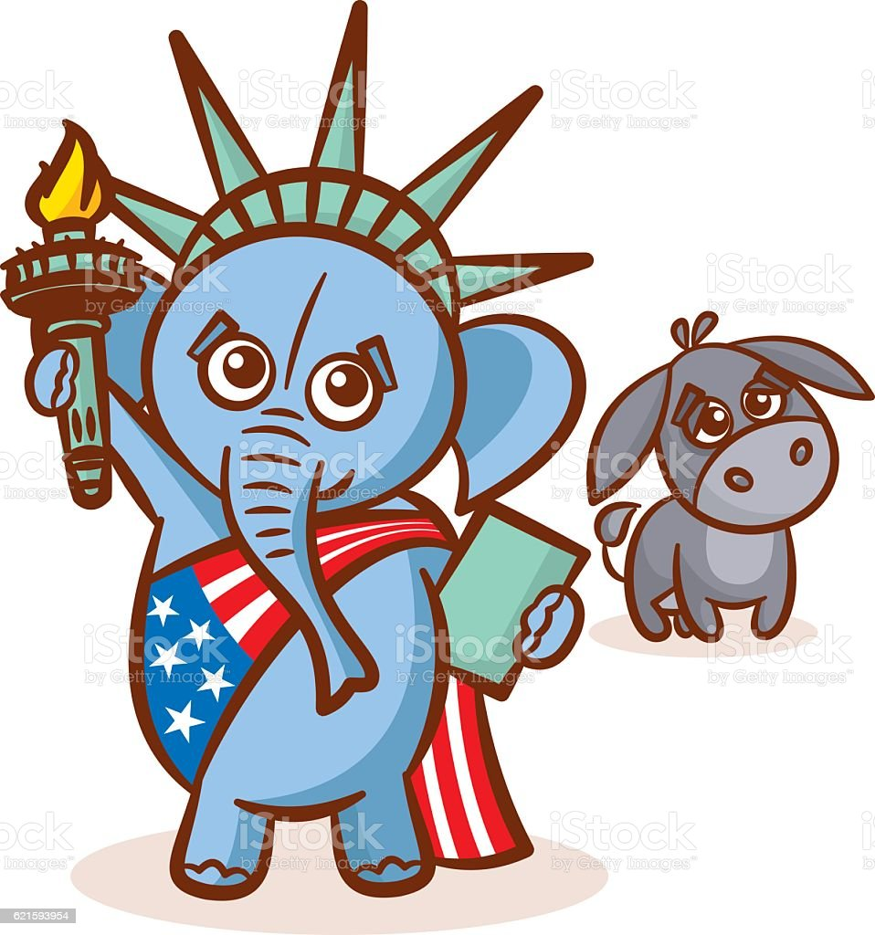 Elephant Donkey Symbols Of Democrats And Republicans Usa Statue