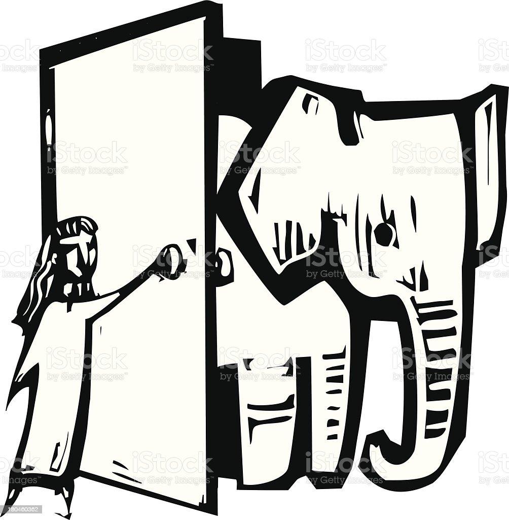 Elephant Door royalty-free stock vector art