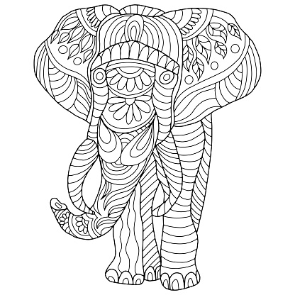 elephant drawn with abstract ornaments on a white background for coloring, vector, animals
