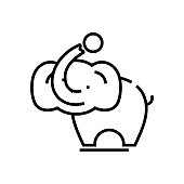 Elephant dressage line icon, concept illustration, outline symbol, vector sign, linear symbol.