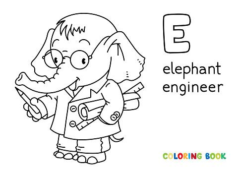 Elephant engineer ABC coloring book. Alphabet E