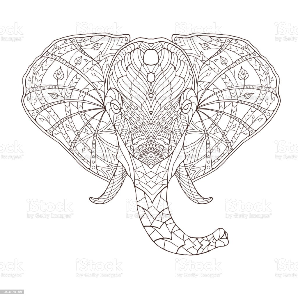 Elephant Ethnic Patterned Vector Illustration African Indian Totem ...