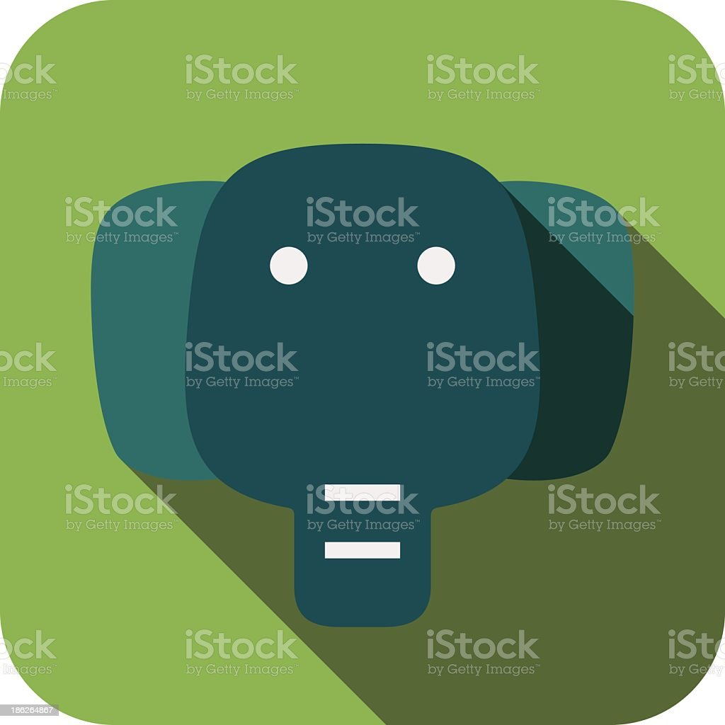 elephant face flat icon design. Animal icons series. royalty-free stock vector art