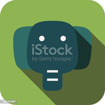 elephant face flat icon design. Animal icons series.