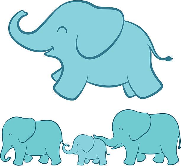 Elephant Family Cartoon Vector Art Illustration