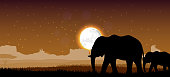 Illustration of Elephant family sunset
