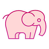 Elephant flat icon. Standing safari animal simple silhouette. Animals vector design concept, gradient style pictogram on white background, graphic for web or app