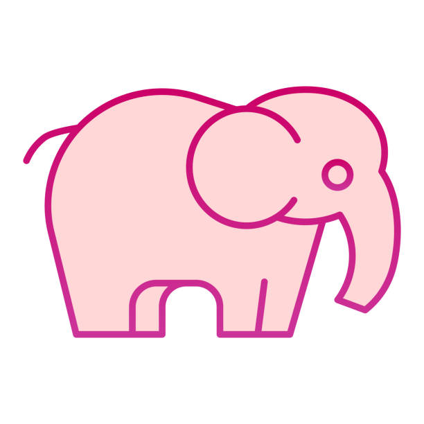 Elephant flat icon. Standing safari animal simple silhouette. Animals vector design concept, gradient style pictogram on white background, graphic for web or app. Elephant flat icon. Standing safari animal simple silhouette. Animals vector design concept, gradient style pictogram on white background, graphic for web or app giant fictional character stock illustrations