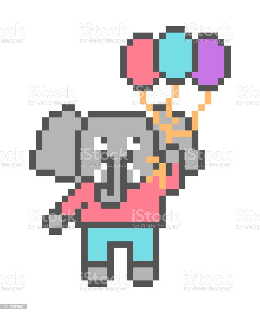 éléphant Volant Avec 3 Ballons Pixel Art Personnage Isolé