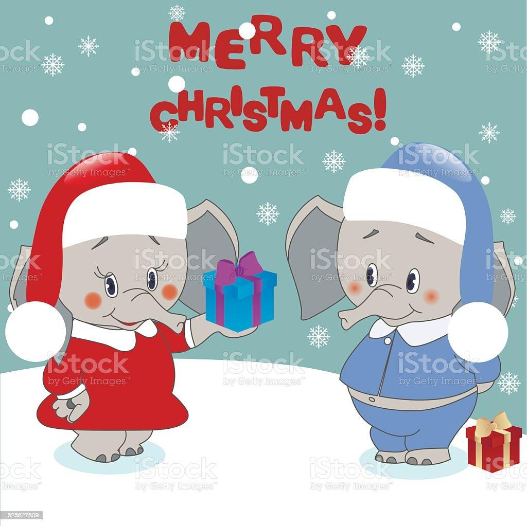 Elephant Gibt Ein Geschenk Weihnachten Hintergrund Vektor Stock ...