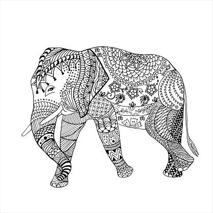 Elephant hand drawn doodle graghic