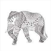 Elephant Hand drawn sketched vector illustration. Doodle graphic with ornate pattern