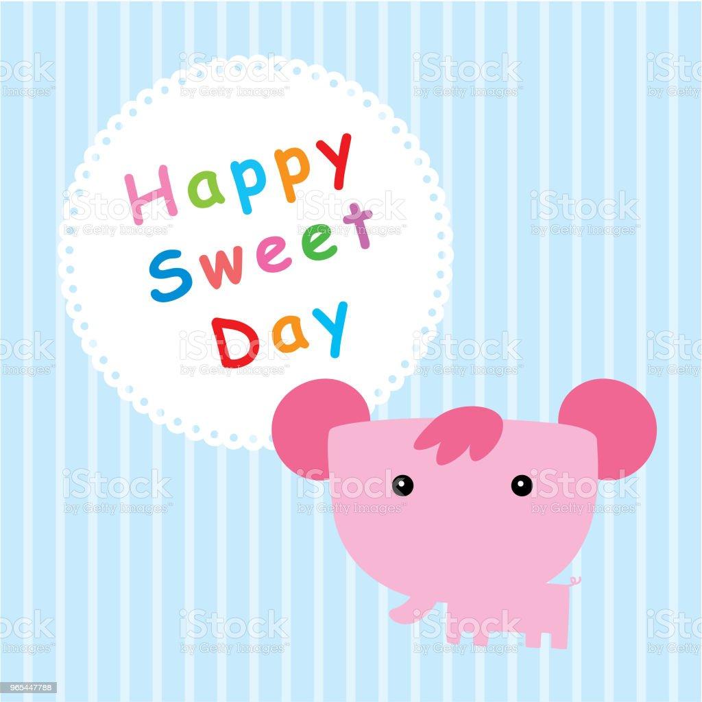 코끼리 행복 달콤한 하루 - 로열티 프리 귀여운 벡터 아트
