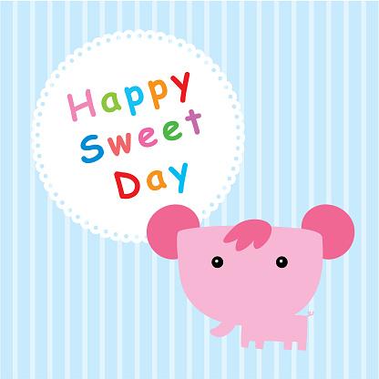 코끼리 행복 달콤한 하루 귀여운에 대한 스톡 벡터 아트 및 기타 이미지