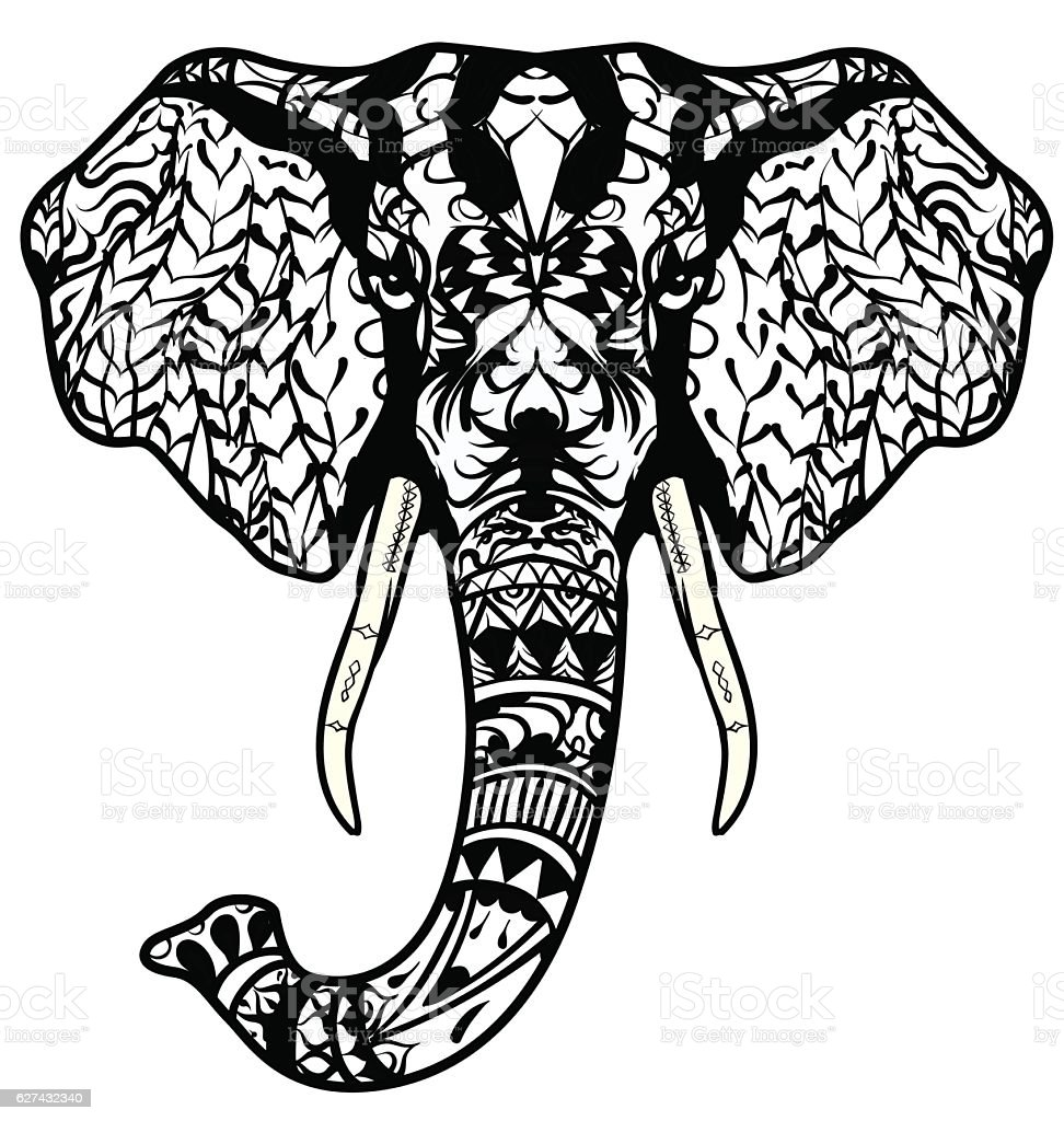 Elephant Head Adult Coloring Page Tattoo Poster Print Tshirt Stock ...