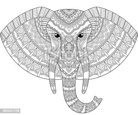 Ilustración de Cabeza De Elefante En Estilo Zentangle Página Para ...