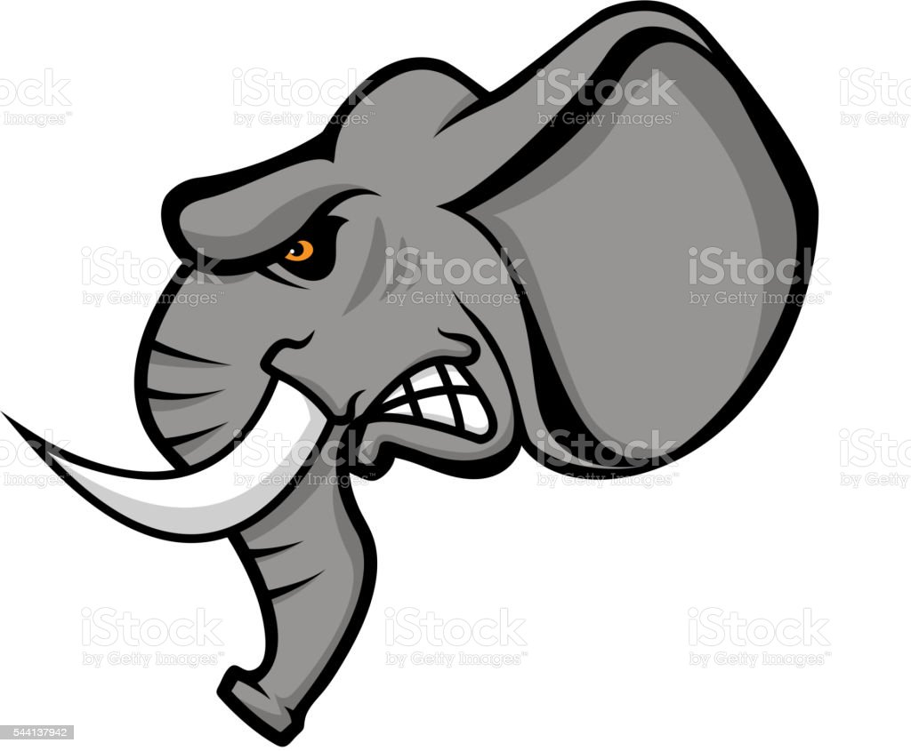 Elephant head isolated on white background. Sport team vector art illustration