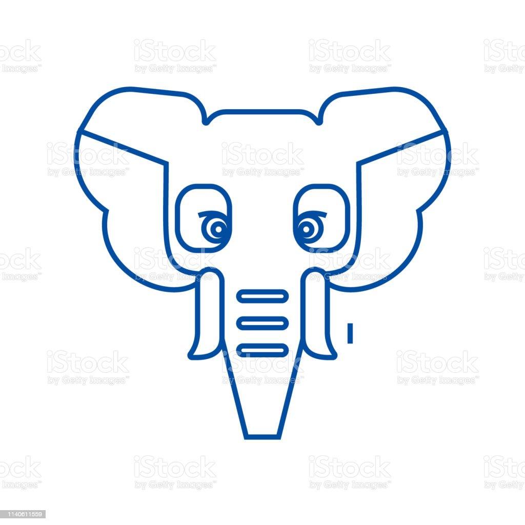 Elephant Head Line Icon Concept Elephant Head Flat Vector Symbol