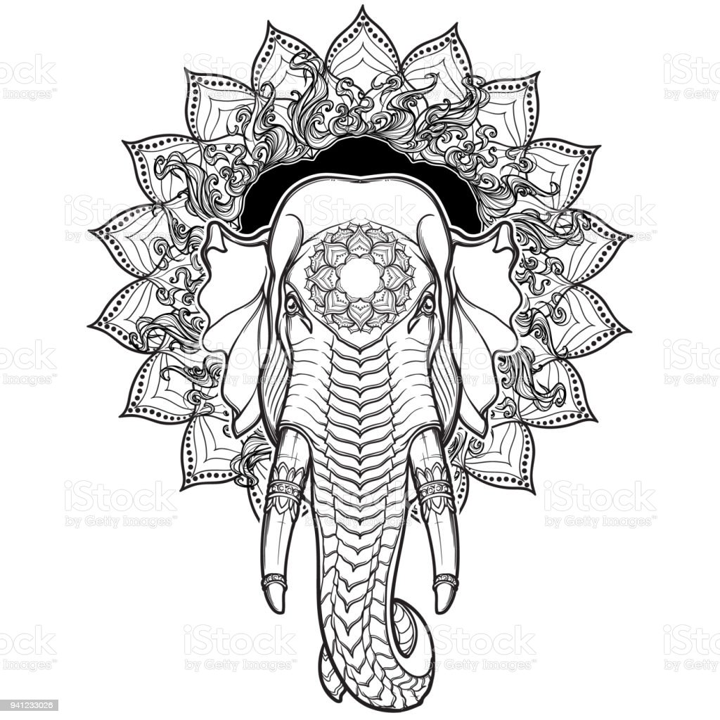 Elephant Head On Lotus Mandala Popular Motiff In Asian Arts And