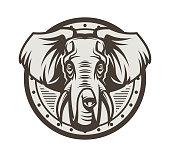 istock Elephant head on shield 986247398