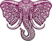 Elephant head painted tribal ethnic ornament. Vector illustration