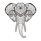 Elephant head. Sketch for tattoo or t-shirt