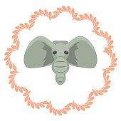 Elephant head vector cartoon illustartion. Grey african mammal