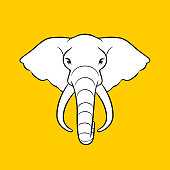 Vector illustration of an elephant head on tellow background.