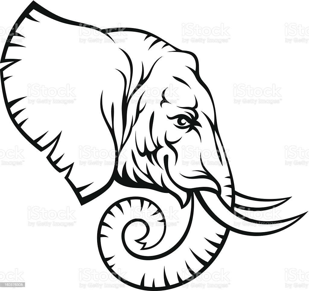 Elephant Head Stock Vector Art & More Images of Animal ...