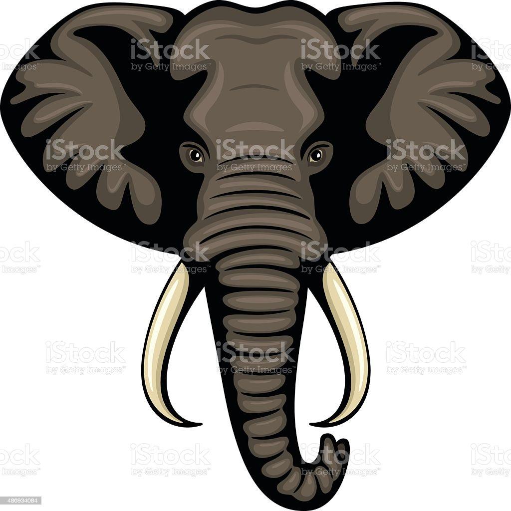 Elephant Head vector art illustration