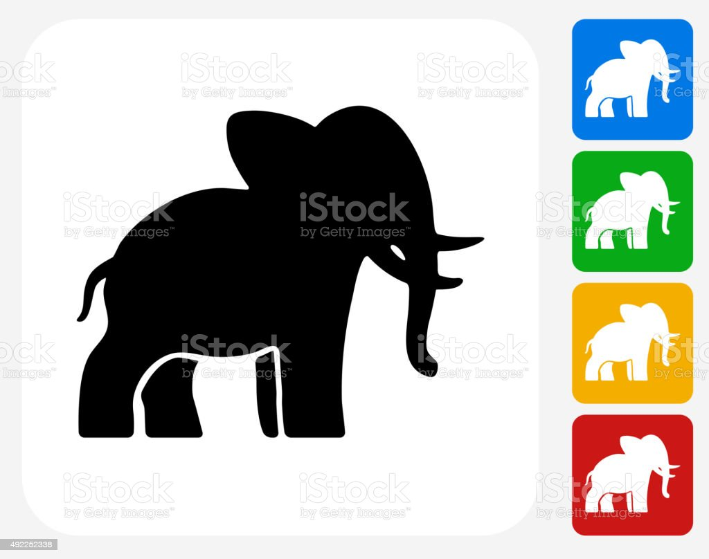 Elephant Icon Flat Graphic Design vector art illustration