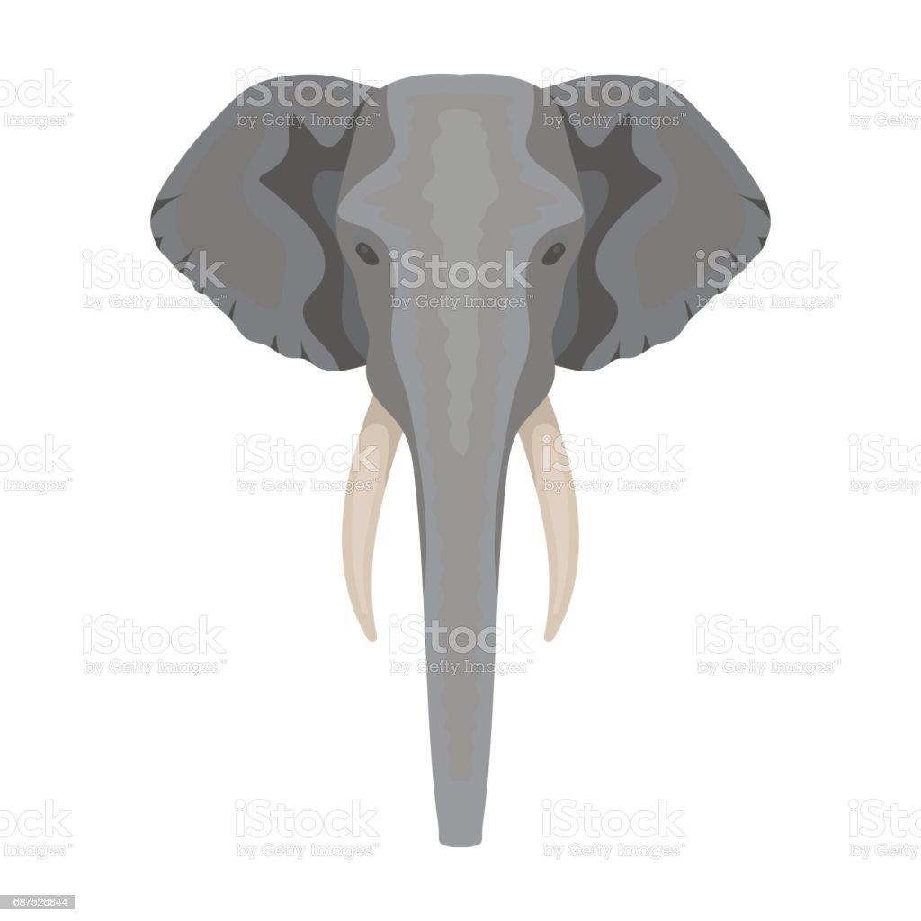 Elephant icon in cartoon style isolated on white background. Realistic animals symbol stock vector illustration.