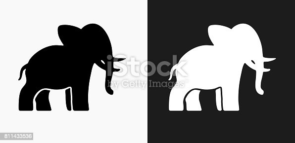 Elephant Icon on Black and White Vector Backgrounds. This vector illustration includes two variations of the icon one in black on a light background on the left and another version in white on a dark background positioned on the right. The vector icon is simple yet elegant and can be used in a variety of ways including website or mobile application icon. This royalty free image is 100% vector based and all design elements can be scaled to any size.