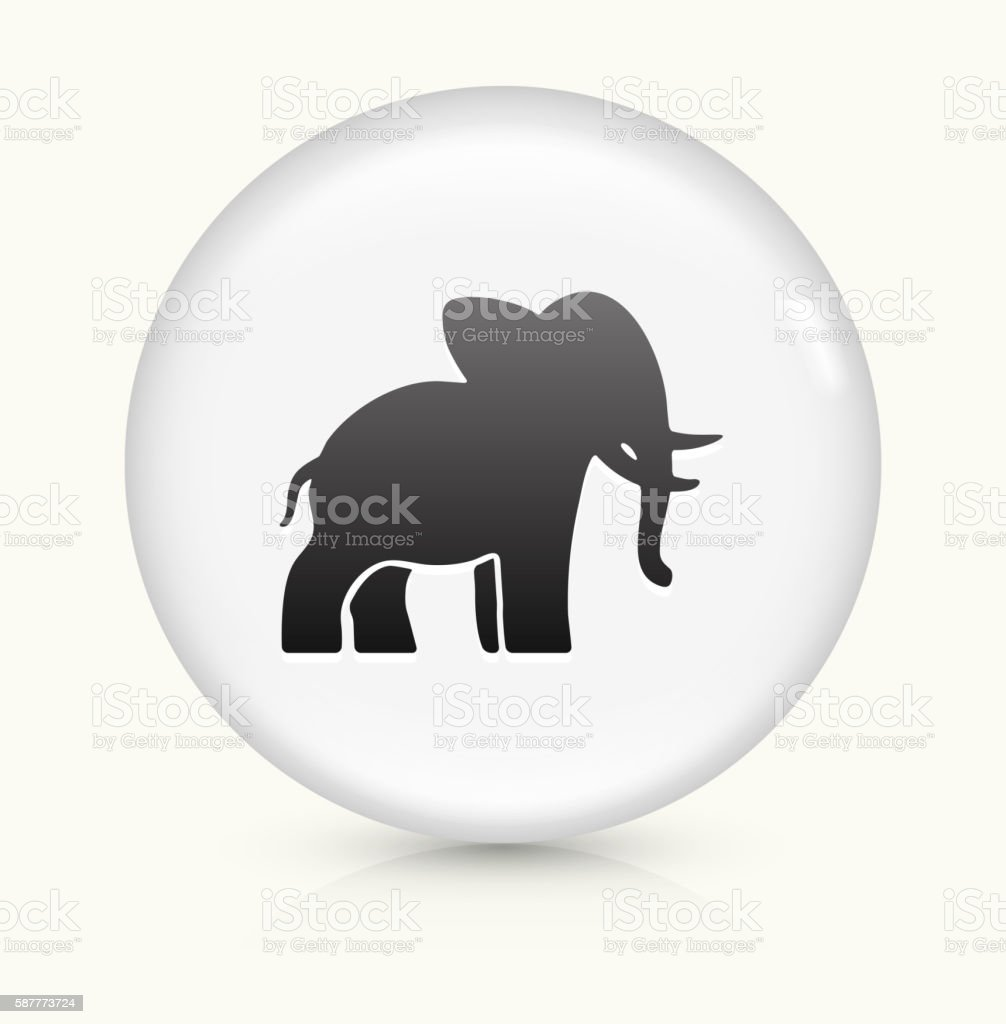 Elephant icon on white round vector button vector art illustration