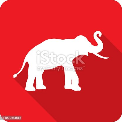 Vector illustration of a red elephant icon in flat style.