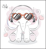 the lovely drawn baby elephant calf, in earphones and sunglasses. Can be used for t-shirt print, kids wear fashion design, baby shower, invitation card, Happy birthday card.