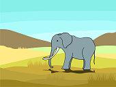 A gray elephant on grass