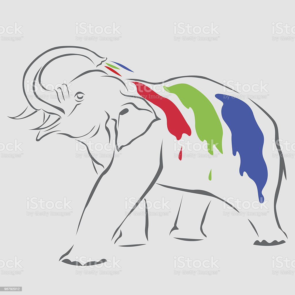 Elephant in RGB colours. royalty-free stock vector art