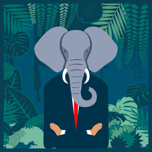 Elephant in the business jungle vector art illustration