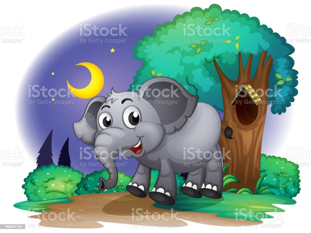 elephant in the forest royalty-free stock vector art
