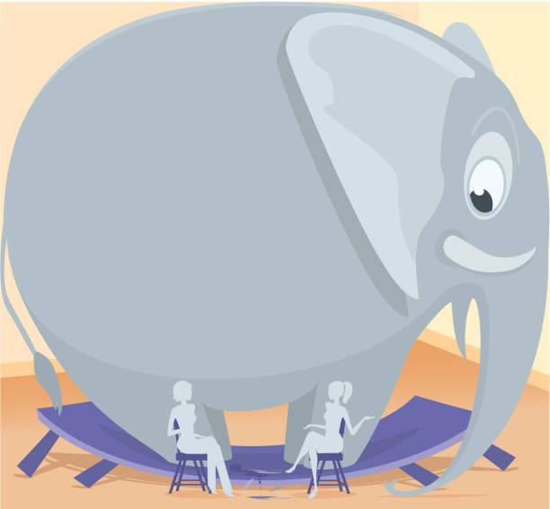 Elephant in the room vector art illustration