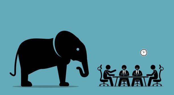 Elephant in the room. vector art illustration