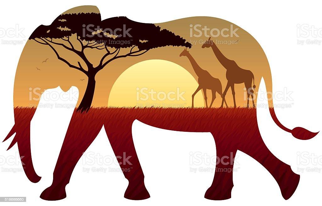 Elephant Landscape vector art illustration