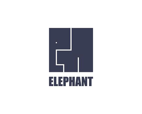 Elephant logo template. Modern cube flat design. Africa wild animal safe