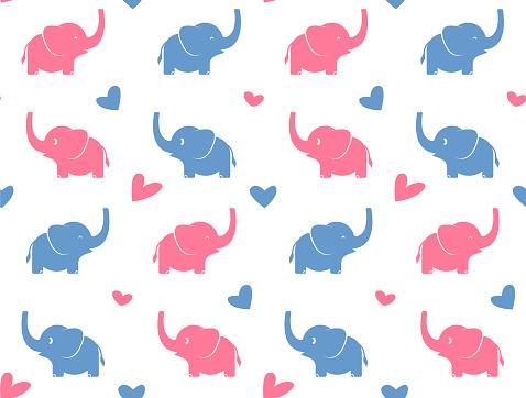 Elephant Love Seamless Pattern