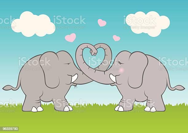 Słoń Miłość - Stockowe grafiki wektorowe i więcej obrazów Serce - Symbol idei
