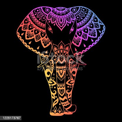Elephant made a floral pattern with Oriental ornaments. Hand drawn decorative animal in Doodle style. Colored rainbow decoration on black background for stamp, cover, print, label and books.