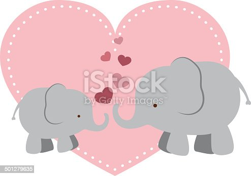 A vector illustration of a mother elephant and her baby with some hearts. Objects are grouped and layered for easy editing. Files included: EPS10 and Large High Res JPG.