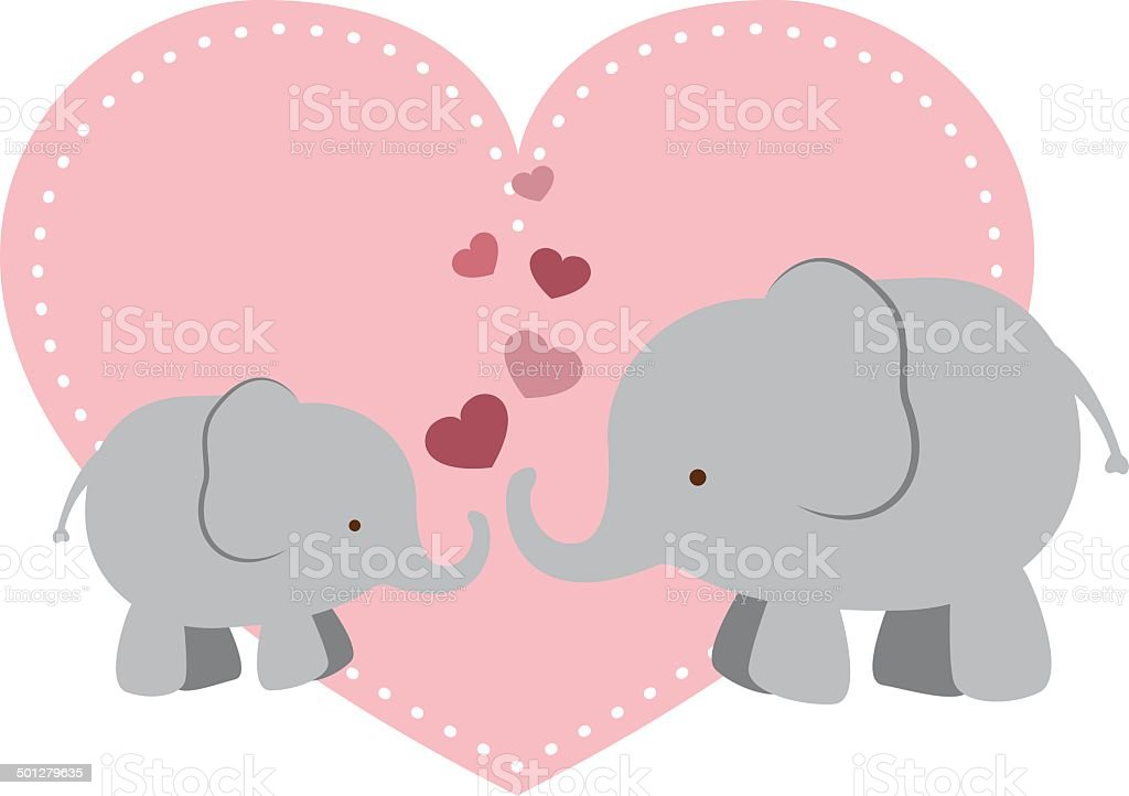 Elephant Mama and Baby with Hearts vector art illustration