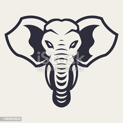 Elephant mascot vector art. Frontal symmetric image of elephant looking dangerous. Vector monochrome icon.